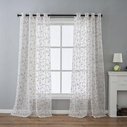 Kotile Floral Embroidered Voile Curtain Panels for Bedroom,