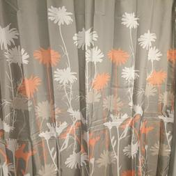 "mDesign Floral Fabric Shower Curtain 72"" x 72"" Coral Gray Wh"