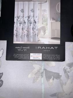 "Tahari Home Floral Fabric Shower Curtain 72"" x 72"" Blue Taup"