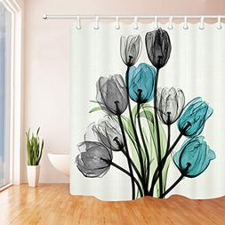 Chengsan Floral Fabric Shower Curtain Set Thick Bathroom Cur