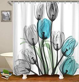 LIVILAN Shower Curtain Set with 12 Hooks Floral Bath Curtain