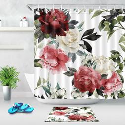 Floral Flower Camellia Bathroom Fabric Shower Curtain Set Wi