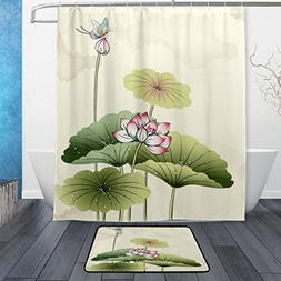 ALAZA Set of 2 Floral Flower 60 X 72 Inches Shower Curtain a