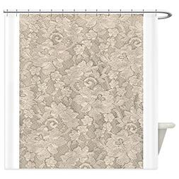 CafePress - Vintage Ivory Floral Lace - Decorative Fabric Sh