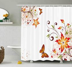 Ambesonne Floral Shower Curtain by, Spring Themed Swirled Fl