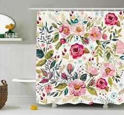 Ambesonne Floral Shower Curtain by, Shabby Chic Flowers Rose