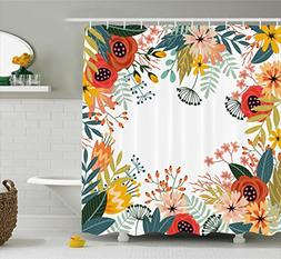 Ambesonne Floral Shower Curtain by, Vintage Exotic Summer Fl