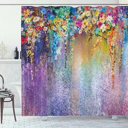 Floral Shower Curtain Blooming Flowers Artsy Print for Bathr