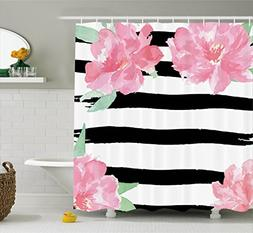 Floral Shower Curtain by Ambesonne, Watercolor Peony Flowers