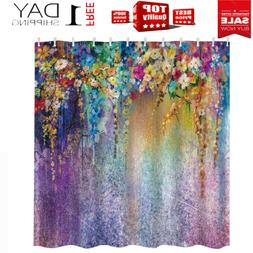 Floral Shower Curtain Decor Polyester Fabric Waterproof Bath