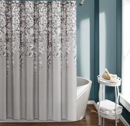 Floral Shower Curtain Fabric Navy Blue or Gray Grey Bathroom