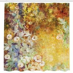 Floral Shower Curtain Leaves Decor By Ambesonne, Watercolor