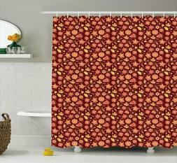 Floral Shower Curtain Polyester Fabric Spring Flowers Art Ba