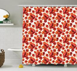 Ambesonne Floral Shower Curtain, Red Poppy Flowers Watercolo