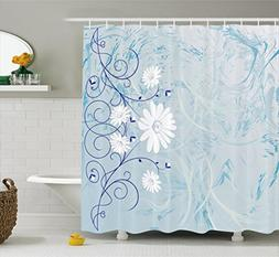 Ambesonne Floral Shower Curtain by, Swirled Blooming Daisy F