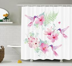 Ambesonne Floral Shower Curtain Set Hummingbirds Decor, Trop