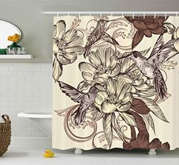 Ambesonne Hummingbirds Decorations Shower Curtain Set, Patte