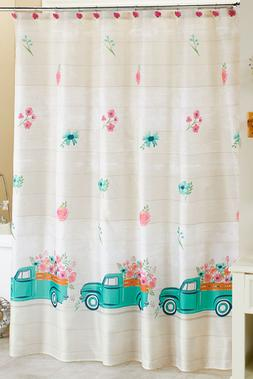 Floral Shower Curtain Spring Blue Truck Fabric Bathroom Acce
