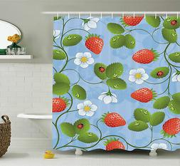 Ambesonne Floral Strawberry Daisy Retro Shower Curtain Set