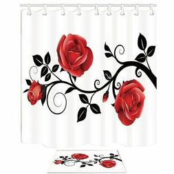 NYMB Flower Shower Curtain, Concise Style Red Rose Black Bra