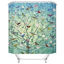 ChezMax Flowers Blossom Birds Contend Waterproof Bathroom Fa