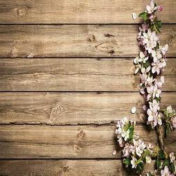 Flowers Shower Curtain Wooden Boards Floral Country Rustic P