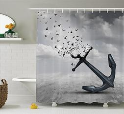 Ambesonne Birds Shower Curtain, Anchor Turns into Group of F