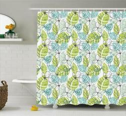 Foliage Pattern Shower Curtain Fabric Decor Set with Hooks 4