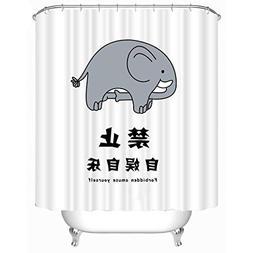 GoJeek Forbidden Amuse Yourself Funny Elephant Shower Curtai