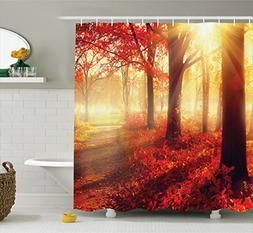 Ambesonne Forest Shower Curtain Tree Woodland Decor, Sun see