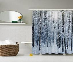 Ambesonne Forest Shower Curtain by, Winter Snow on Trees, Bl