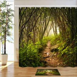 Forest trail Waterproof Fabric Home Decor Shower Curtain & b
