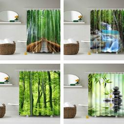 Forest Trees Printed 3d Bath <font><b>Curtains</b></font> Wa