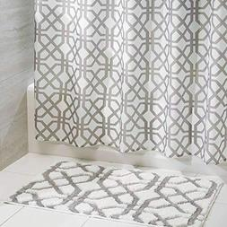 mDesign Fretwork Fabric Shower Curtain and Microfiber Bathro