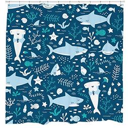 Fun Shark Shower Curtain Set with Cute Fish Ocean Themed Bat