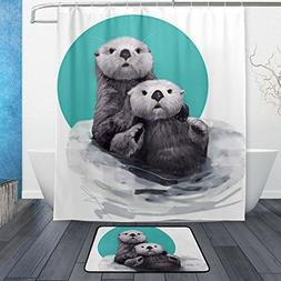 ALAZA Set of 2 Funny Animal Otter 60 X 72 Inches Shower Curt