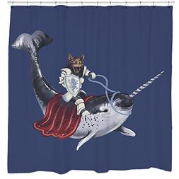 Funny Shower Curtains, Cat Shower Curtain, Blue Narwhal Show