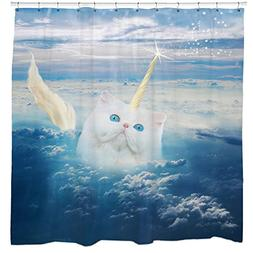 Cat Shower Curtain, Unicorn Shower Curtain, Funny Shower Cur
