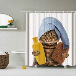 Funny Cat Take A Bath Printed 3d Bath <font><b>Curtains</b><