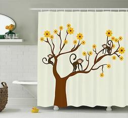 Ambesonne Funny Decor Shower Curtain Set, Cute Monkey Animat