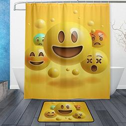 ALAZA Set of 2 Funny Emoji 60 X 72 Inches Shower Curtain and