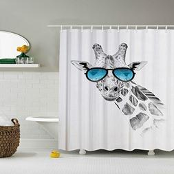 ZBLX Funny Giraffe Shower Curtain Giraffe On Glasses- Waterp