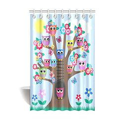 InterestPrint Funny Owl Home Decor Cute Owls on Tree Best Fr