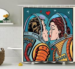 Anime Shower Curtain Love Decor by Ambesonne, Space Man and