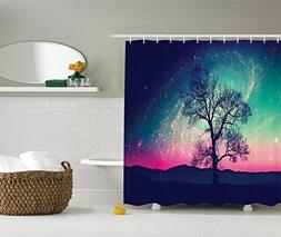 Ambesonne Galaxy Shower Curtain, Nebula Red Alien Silhouette