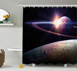 Galaxy Shower Curtain Set by Ambesonne, Sunset in Outer Spac