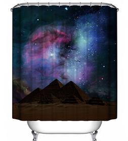 Galaxy Sky Mountains Shower Curtain Outer Space Stars Celest