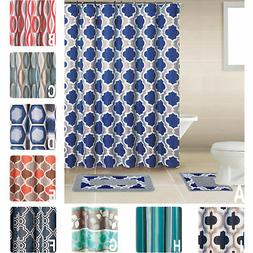 Geometic Helix Swirls Shower Curtain with Hooks Bathroom Rug