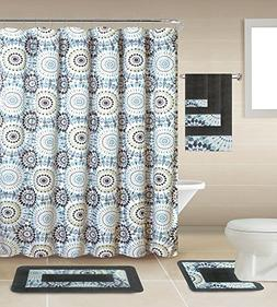 18 Piece Geometric,Floral Designs Banded Shower Curtain Set.