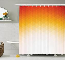 Ambesonne Geometric Decor Shower Curtain, Ombre Geometric Tr